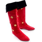 Vintage Escada Red Suede Boots With Gold Clover