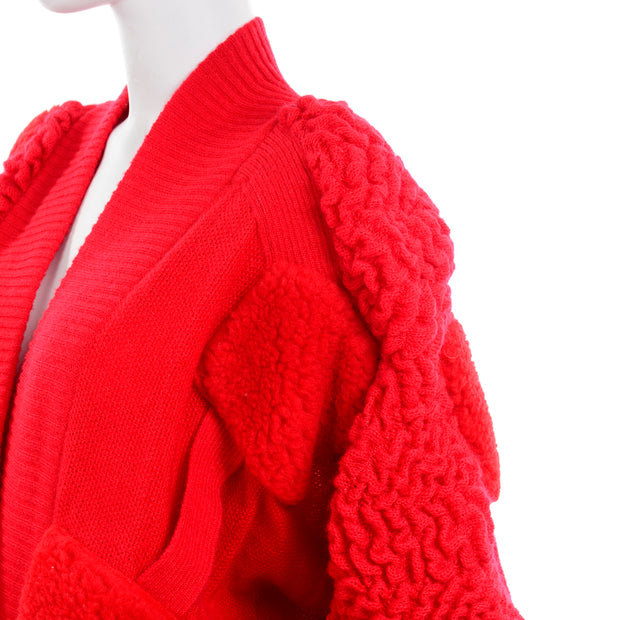 1980s Escada Avant Garde Oversized Red Knit Sweater