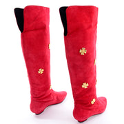 Escada Vintage Black & Red Suede Boots With Gold Clover