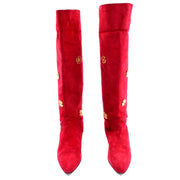 Escada Vintage Red Suede Boots With Gold Clover 80s