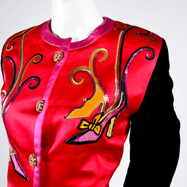1990s Escada Blazer Jacket in Red Black and Pink Novelty Shoe Print