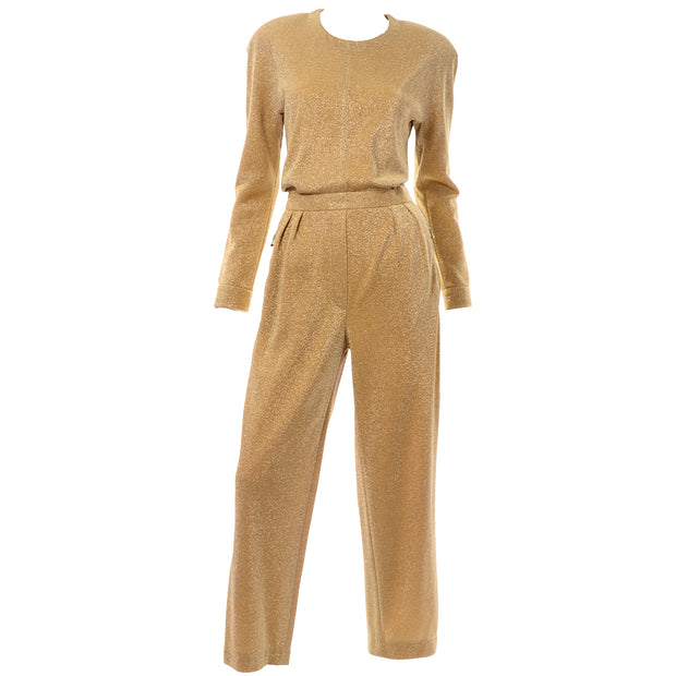Escada Gold Lurex Vintage Jumpsuit by Margaretha Ley 1980s