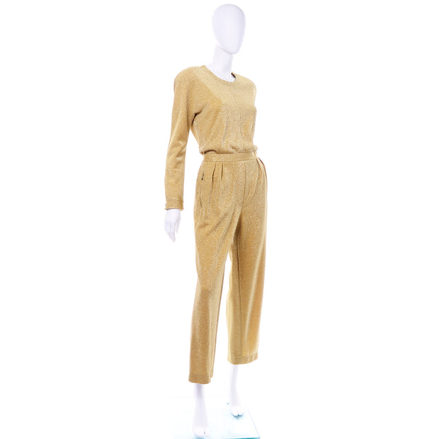 1980s Escada Gold Lurex Vintage Jumpsuit