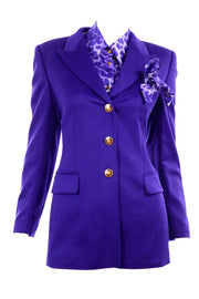 Escada Vintage Purple Blazer and Matching Silk Blouse