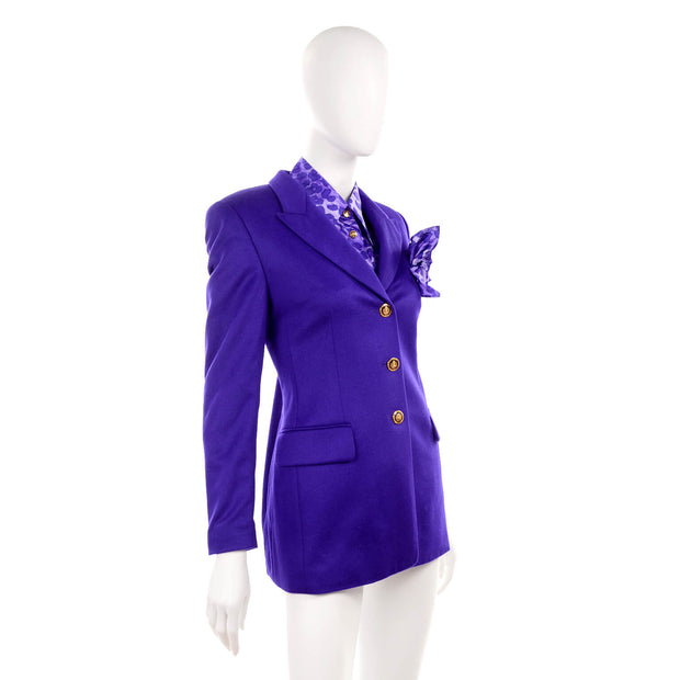 Purple Escada Blazer w/ Animal Print Silk Blouse & Pocket Square