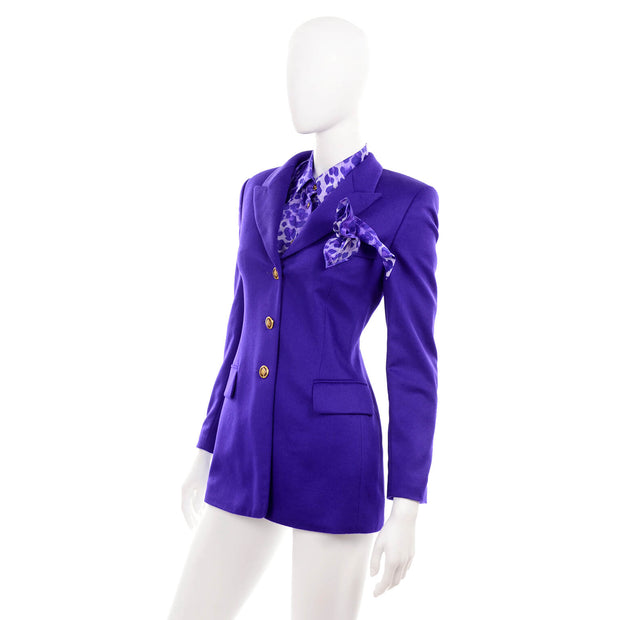 Escada vintage blouse and jacket with matching pocket square