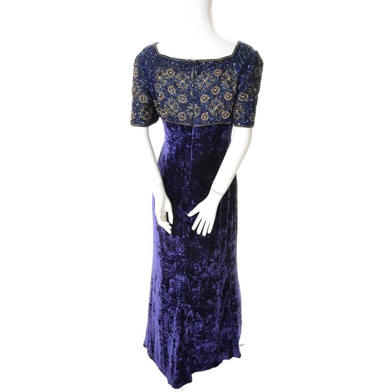 Vintage Escada Couture Maxi Dress with beaded empire waist and crushed velvet purple skirt