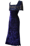 1990's Escada Couture beaded crushed velvet evening gown maxi dress