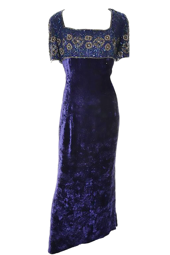 Vintage 90's Escada Couture purple crushed velvet maxi dress with beading