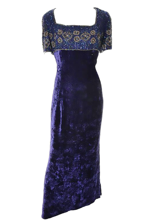 5b8fb3c5485 Vintage 90 s Escada Couture purple crushed velvet maxi dress with beading
