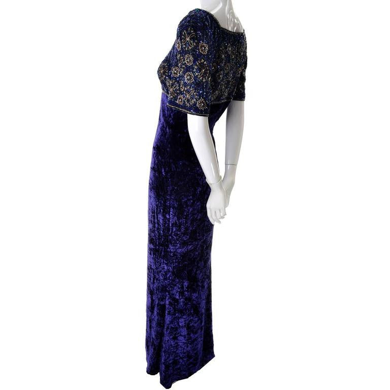 Beaded empire waist 1990's vintage Escada Couture long dress