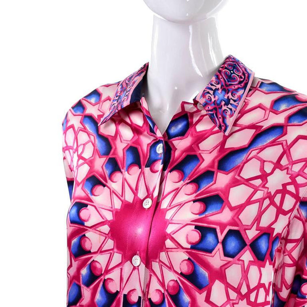 Abstract radial design silk blouse in pink and blue by Escada in the 1980's