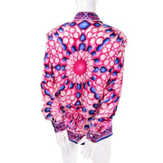 Radial pink and blue design silk blouse by Escada expressly for Saks Fifth Avenue Size Medium 8/10 40