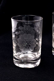 Mid Century Etched Flower Juice Glasses, Set of 6