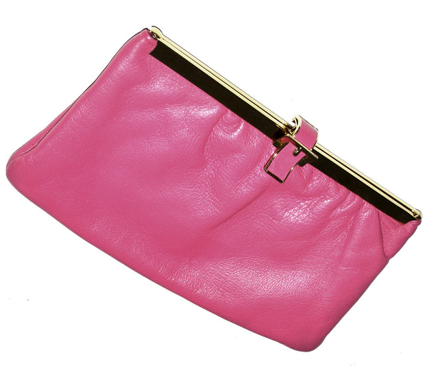 Etra Pink Leather Clutch Handbag Optional Chain Strap Gate Opening - Dressing Vintage