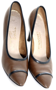 1950's Evins I Magnin Vintage Shoes Brown Black 8.5 AA - Dressing Vintage