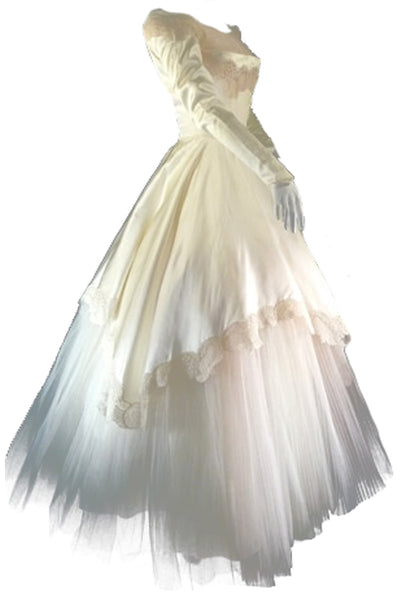 1950's William Cahill Beverly Hills Vintage Wedding Dress - Dressing Vintage