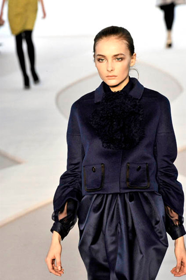 F/W 2008 Valentino documented deep blue silk blouse and skirt