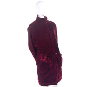 Faconnable Vintage Red Velvet Lined Coat
