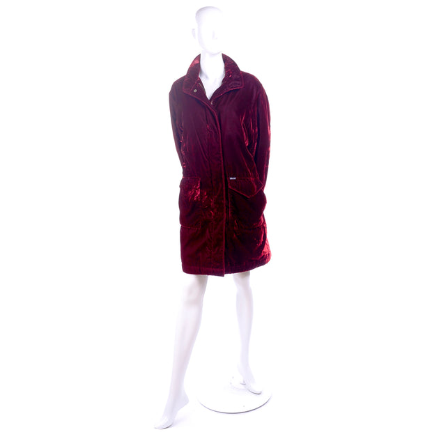Faconnable Vintage Red Velvet Coat with Quilted Lining