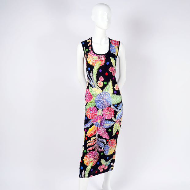 F/W 1993/94 Documented Gianni Versace Couture Black Floral Bodycon Dress