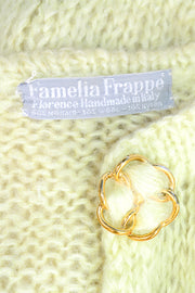 Famelia Frappe Pale Yellow Mohair Cardigan w/ Gold Buttons Size Medium