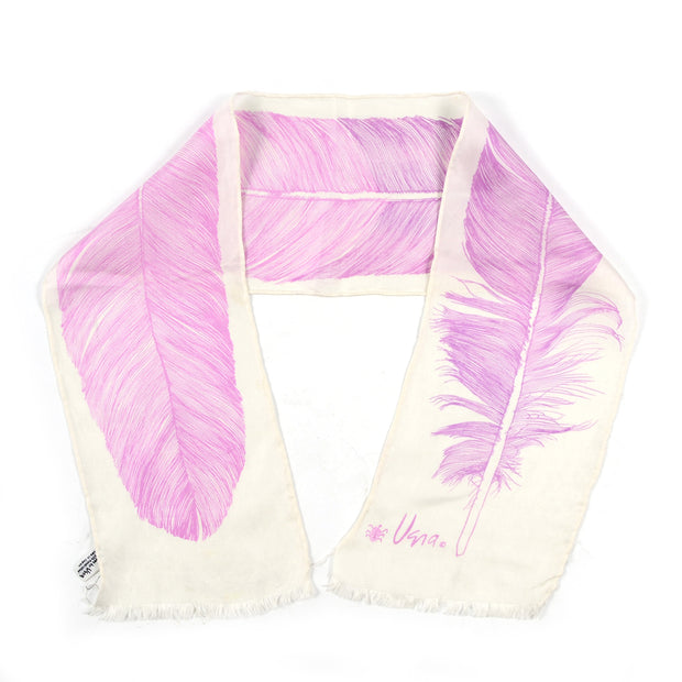 1960s Vera Neumann Silk Ombre Feather Scarf w/ Fringe Edges