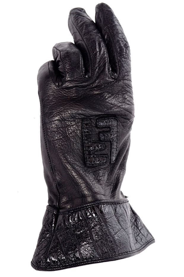 Black Leather Fendi Vintage Gloves