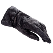 Fendi black leather designer gloves