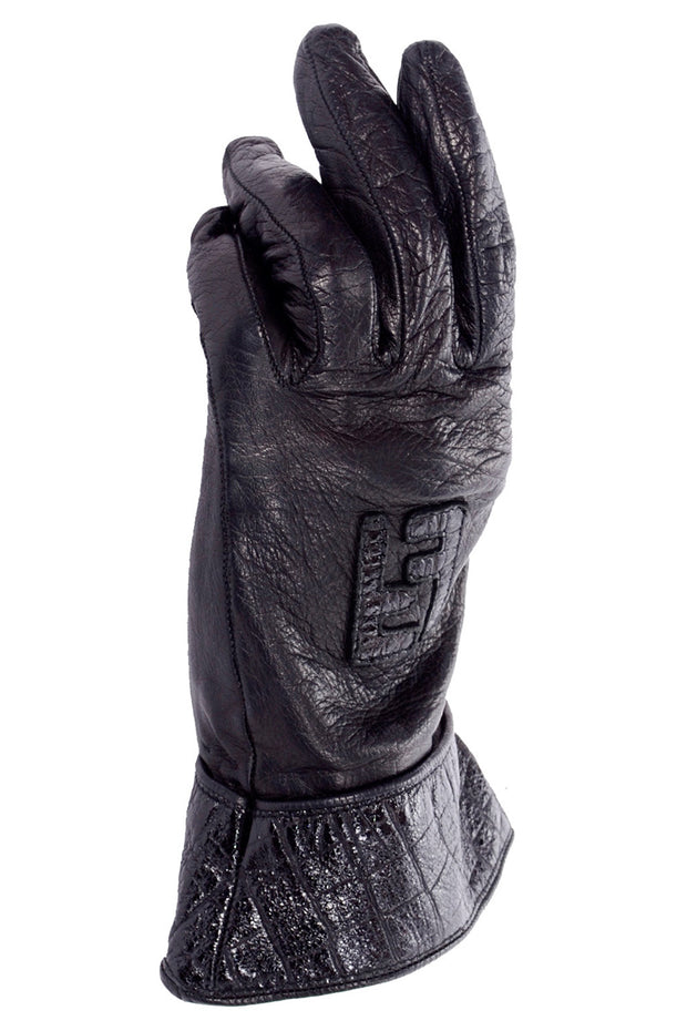 Vintage Fendi black leather gauntlet gloves