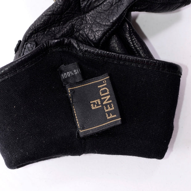 Vintage Fendi Black Leather Ladies Gauntlet Gloves