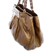Fendi Borsa Mia Shoulder Bag in Bronze Leather w/ Chain Strap