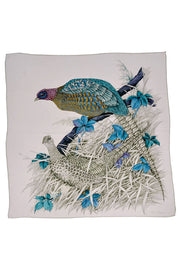 Vintage Salvatore Ferragamo Scarf in Silk Print with Pheasants and Blue Flowers