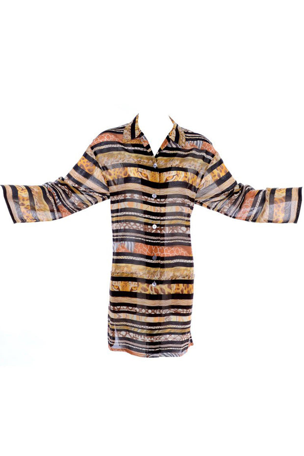 Salvatore Ferragamo Semi Sheer Vintage Animal Print Tunic Small