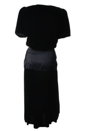 Black 1980s Flora Kung Silk Velvet Vintage Dress