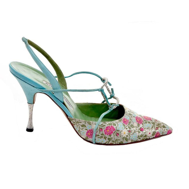 Carolyne Manolo Blahnic vintage slingback high heels in blue, silver and pink floral satin brocade