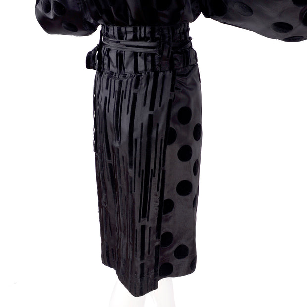 France Andrevie panel wrap skirt with velvet stripes and polka dots
