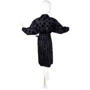 France Andrevie black velvet dolman blouse and wrap skirt