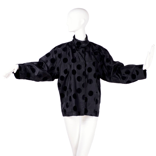 Oversized dolman high neck polka dot velvet blouse