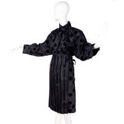 France Andrevie black 2 piece dress with velvet stripes and polka dots