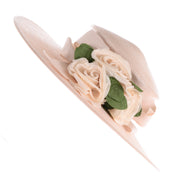 Cream Straw Hat w Satin Roses
