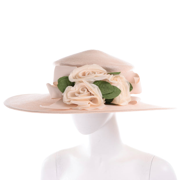 Frank Olive Vintage Sun Hat with Silk Flowers