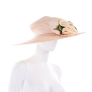 Vintage Straw Hat with Large Flowers and Bow