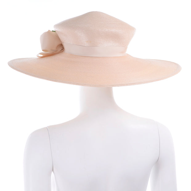 1980s Frank Olive Vintage Cream Straw Hat w Satin Rose Flowers
