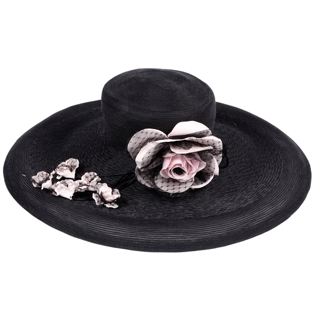 Vintage Frank Olive Wide Brim Hat woven black with roses