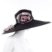 Vintage Frank Olive Wide Brim Hat with flower