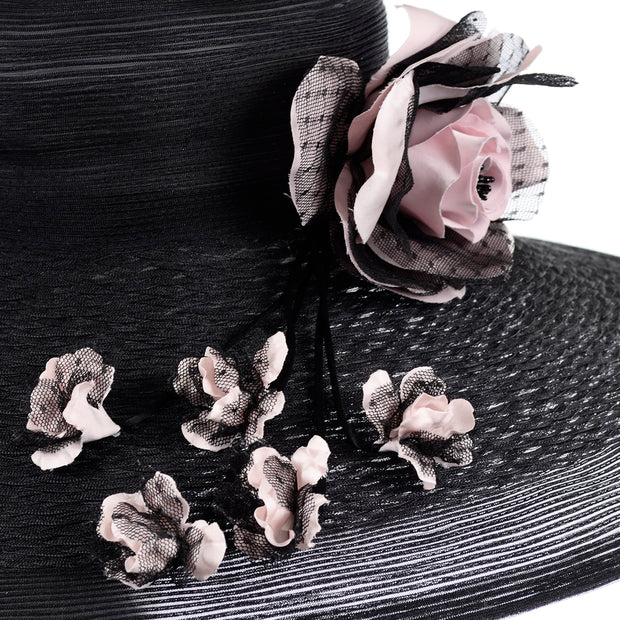 Vintage Frank Olive Wide Brim Hat with flowers