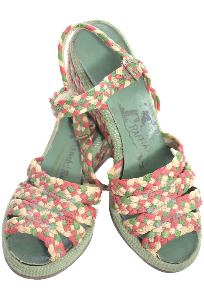 French room vintage raffia shoes sandals wedges 1950s