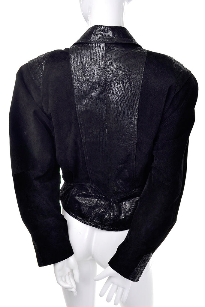 1980's black suede vintage jacket with shoulder pads