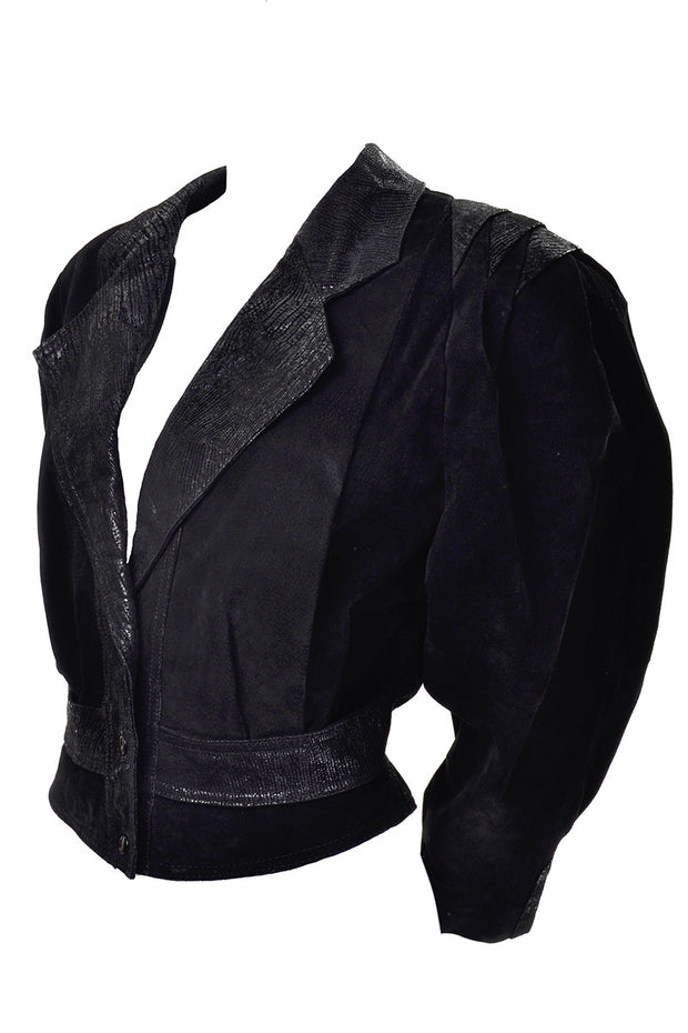 Statement sleeves black suede 1980's vintage jacket
